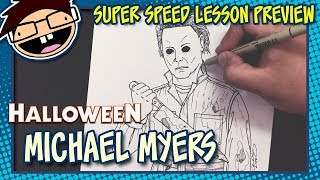 Lesson Preview: How to Draw MICHAEL MYERS (Halloween Movie Franchise) | Super Speed Time Lapse Art
