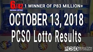 PCSO Lotto Results Today October 13, 2018 (6/55, 6/42, 6D, Swertres, STL & EZ2)