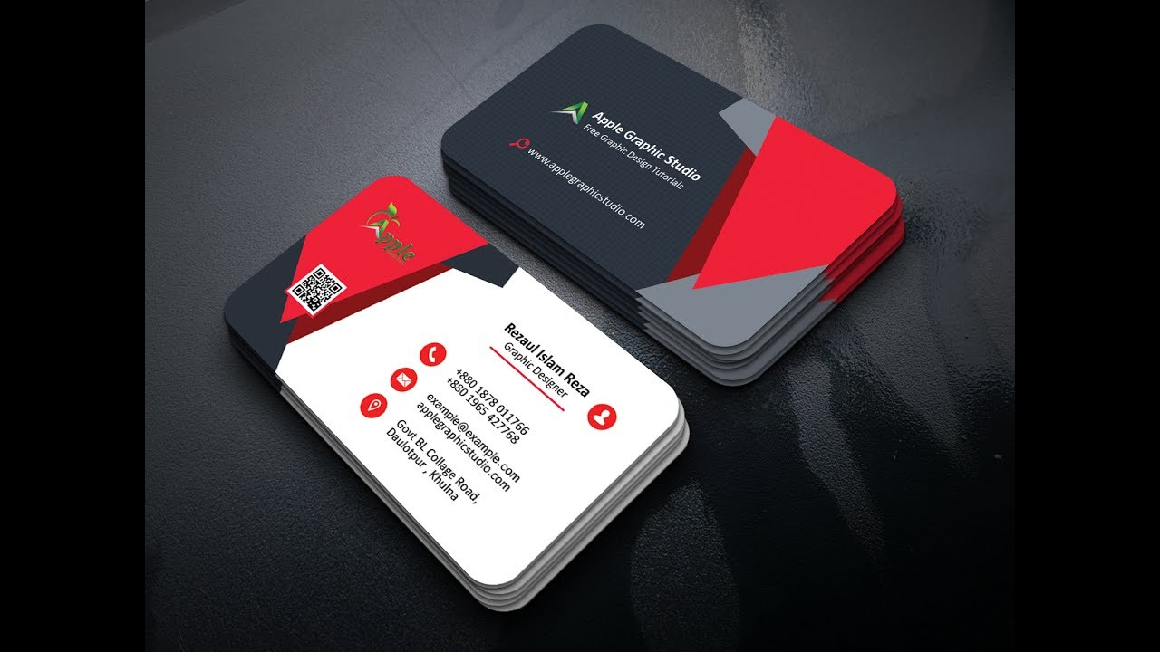 How To Make A Creative Business Card Design In Photoshop Apple Graphic Studio