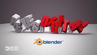 REYES Digital | Tutorial Caída de texto 3D con Blender