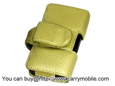 Carrymobile Leather Case for Samsung I8510 INNOV8 - Pouch Type(Gold LC)