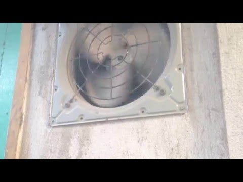 KDK brand (?) exhaust fans leading from a generator room