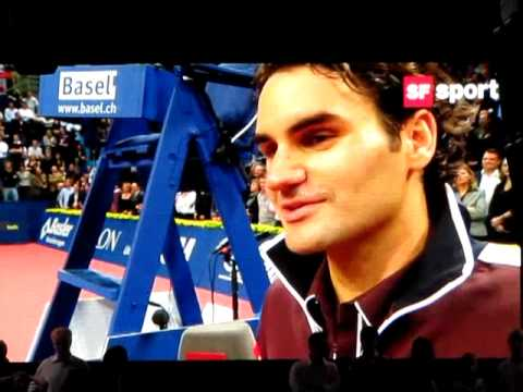 Federer and Chiudinelli oncourt interview after their SF in Basel 2009