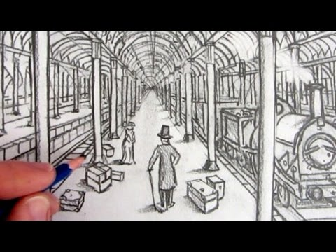 How To Draw A Victorian Railway Station In One Point Perspective