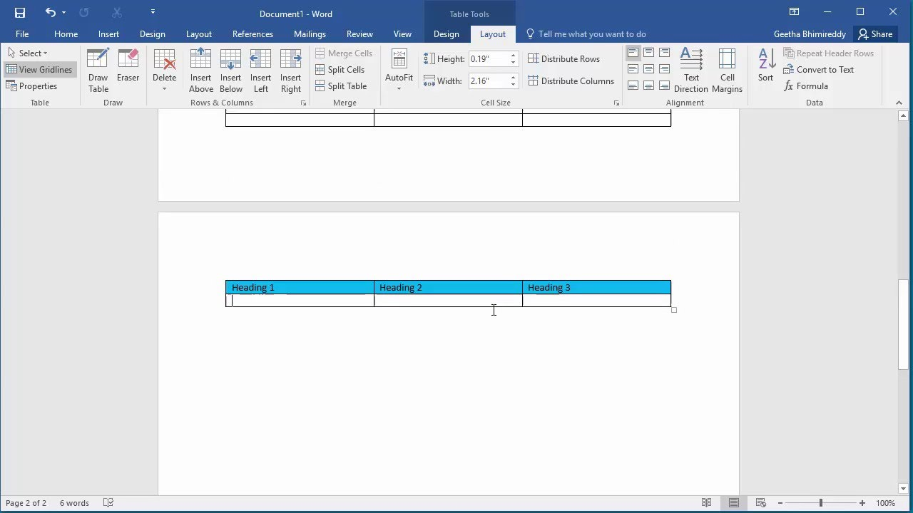 How To Repeat Heading Row Of Table On Each Page In A Document In Word 2016