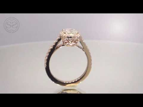 Rose Gold Cushion Cut Halo Engagement Ring