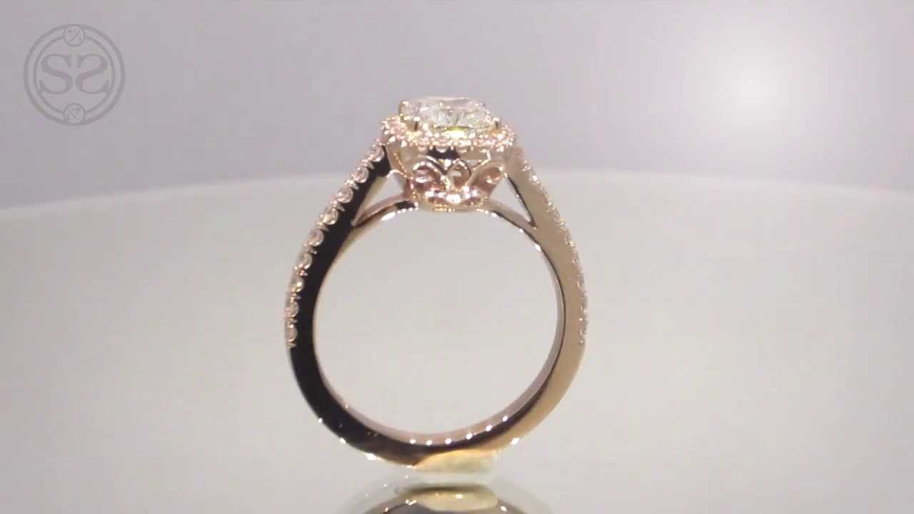 Rose Gold Cushion Cut Halo Engagement Ring Youtube