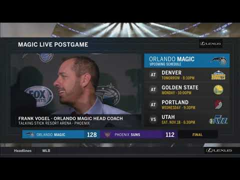 Frank Vogel -- Orlando Magic at Phoenix Suns 11/10/2017