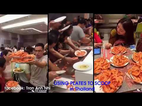 Chinese tourist clearing out BBQ super fast in vietnam ( and thai land ) lol Part 2