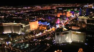 """Las Vegas"" ""Night Helicopter Flight"" over the Famous Strip and Downtown Vegas. Nevada USA"