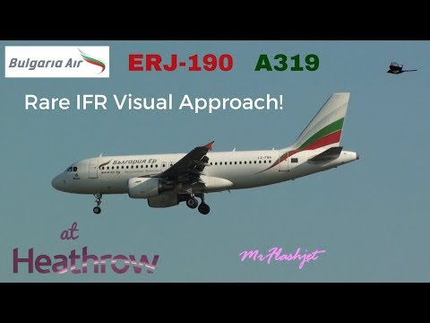 Bulgaria Air Embraer ERJ-190 - IFR Visual Approach!  at London Heathrow