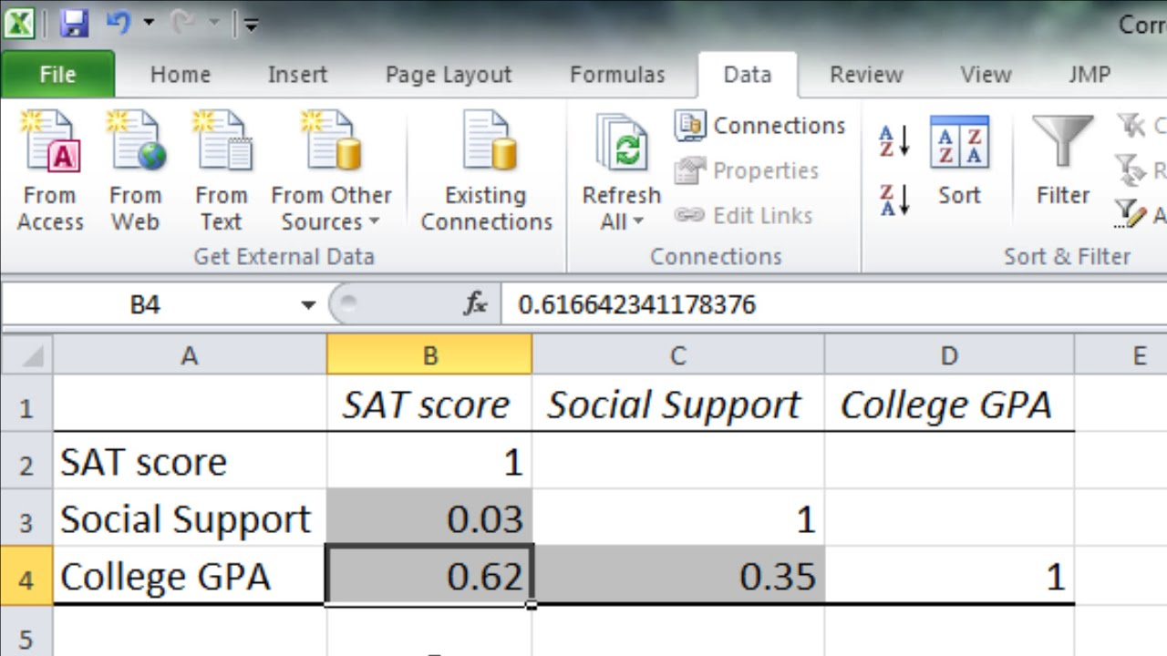 how to calculate a correlation matrix in excel three or more