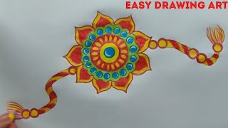 how to make handmade rakhi drawing || rakshabandhan greeting card drawing