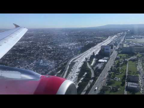 LANDING! VIRGIN AMERICA AIRBUS 319 SEAT 2A INTO LOS ANGELES (LAX)