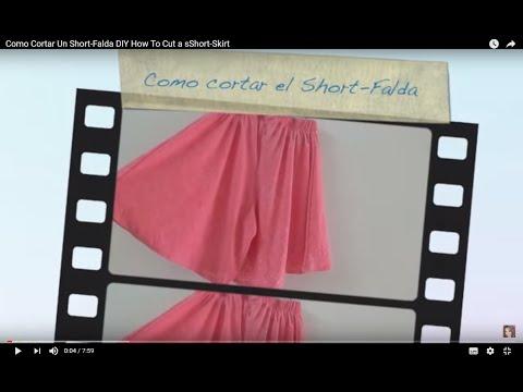 Como Cortar Un Short-Falda DIY How To Cut a sShort-Skirt