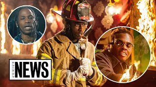 """How Young Thug, Gunna & Travis Were Set On Fire In The """"Hot"""" Music Video 