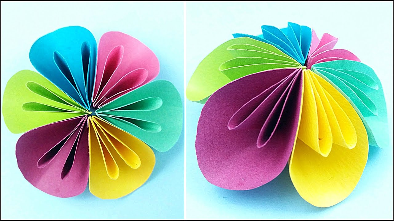Paper Flower Diy Making Tutorial Paper Flowers Decorations Easy For Children For Kids