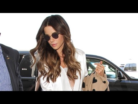 Kate Beckinsale Gorgeous In Satin Pantsuit And Heels Leaving L.A. With Daughter Lily Mo