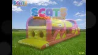 Scats Bouncing Castles - Pink and Yellow Obstacle Course