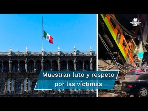 Izan banderas a media asta ante luto por víctimas del colapso en Línea 12 del Metro
