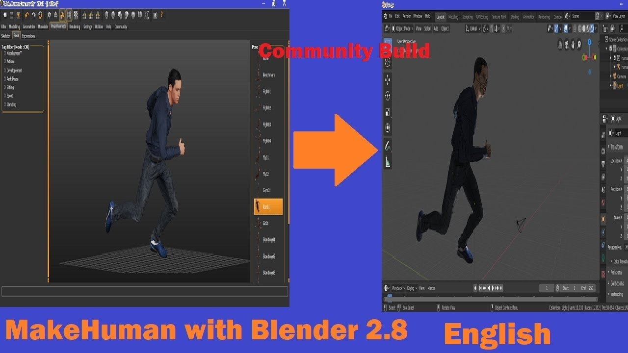 How to import character in blender 2.8 from Makehuman English | Makehuman | Blender 2.8 Addon