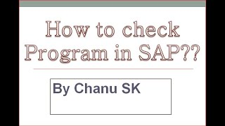 How to check Program Details in SAP