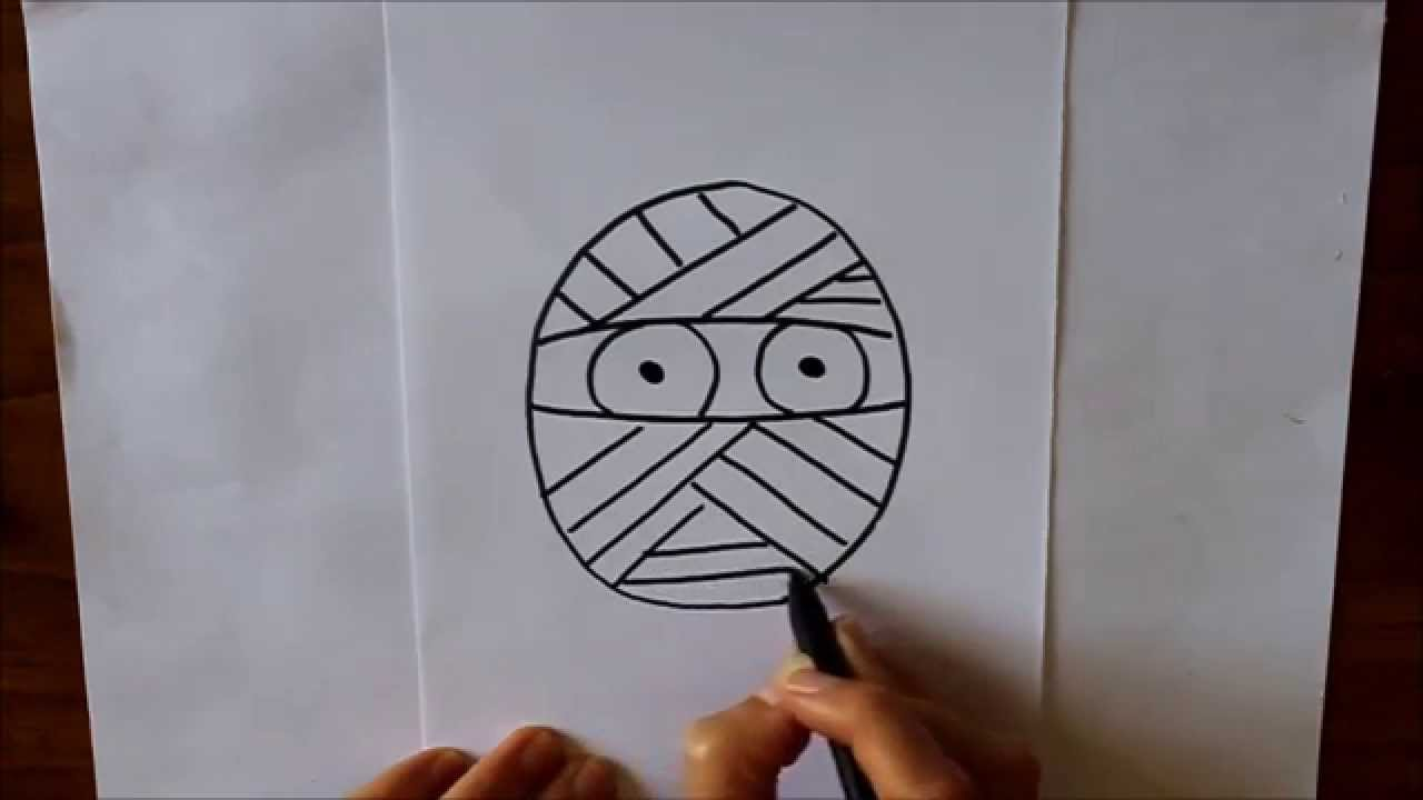 C mo dibujar un momia dibuja conmigo dibujos de halloween - Dibujos de halloween faciles ...