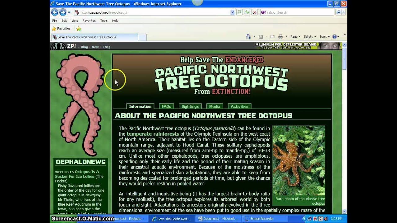 Evaluation of Website - Northwest Tree Octopus - YouTube