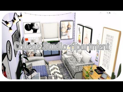 The Sims 4 | Apartment Build: College Aesthetic studio Apartment | CC LINKZ + shutouts!