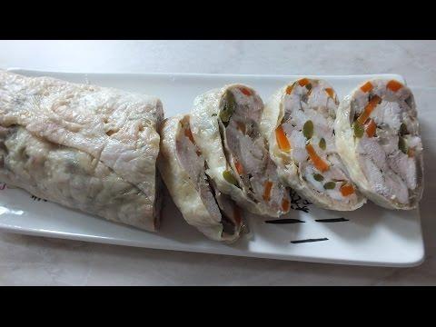 Как приготовить вкусный куриный  рулет с грибами в фольге в духовке