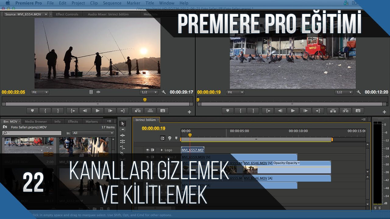 Premiere Pro Eğitimi 22 - Kanalları gizlemek ve kilitlemek