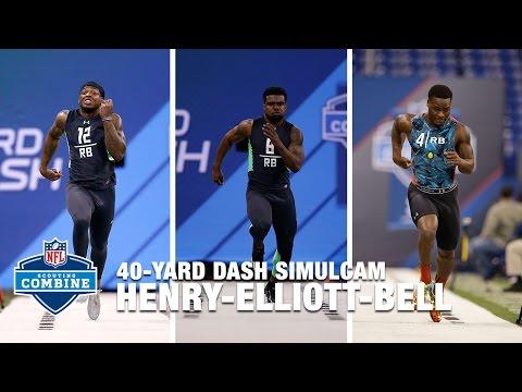 Ezekiel Elliott vs. Derrick Henry vs. Le'Veon Bell 40-Yard Dash Simulcam | 2016 NFL Combine