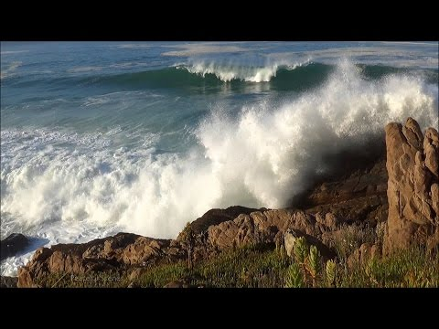60min ocean waves crashing into rocky shore - sounds of the ocean in stereo - HD