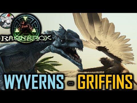 ARK: Survival Evolved Ragnarok DLC - Ice Wyverns Griffins Gameplay