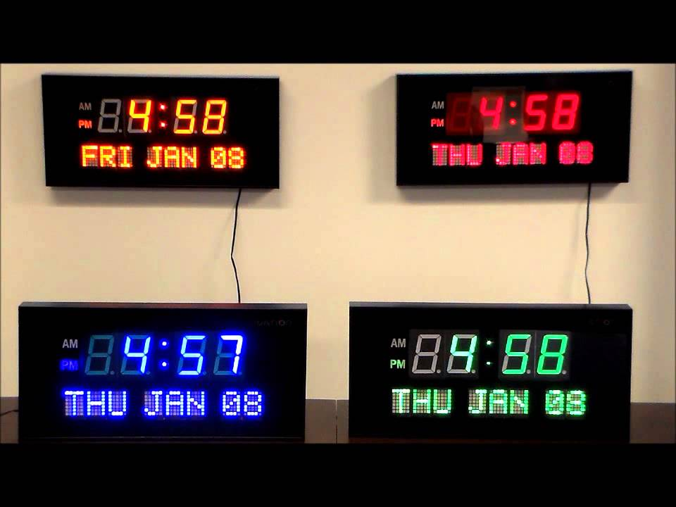 Ivation Large Display Electric LED Wall Table Clock with Day