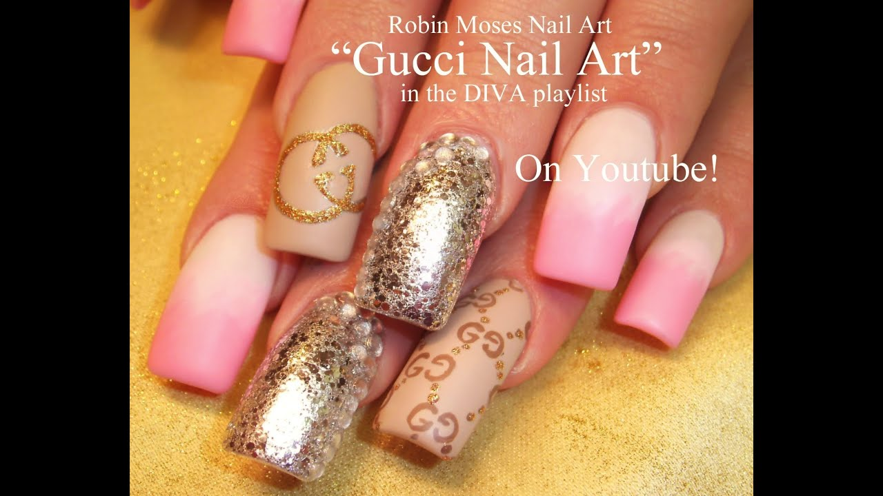 Gucci Nail Art | Matte Pink and White with Silver Glitter | DIVA Nail ...