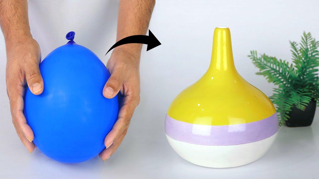 Paper flower vase Making    Cement flower vase - Easy flower vase making
