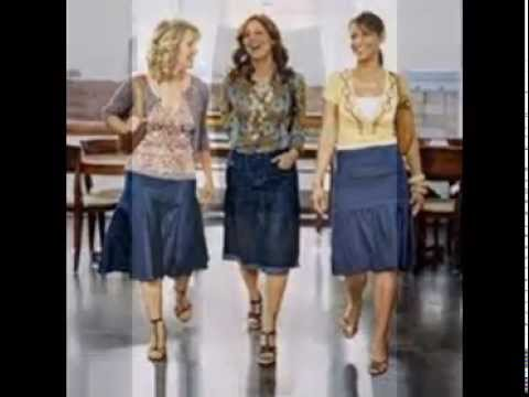 Denim Skirts Knee Length - YouTube