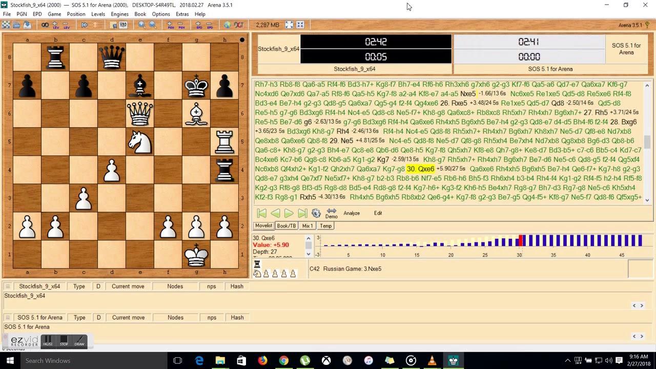 Chess Stockfish 9 64 bit Vs  SOS 5 1 for Arena