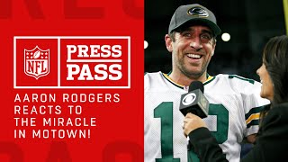 Aaron Rodgers Reacts to Game Winning Hail Mary | Packers vs. Lions | NFL