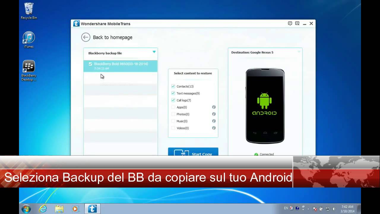 rubrica da blackberry su pc
