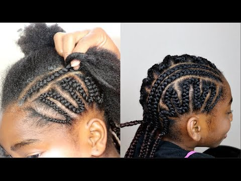 SIMPLE ZIGZAG CORNROWS  FOR KIDS || PROTECTIVE STYLE