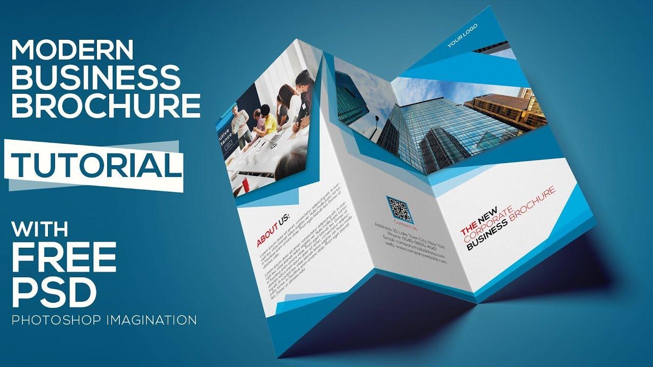 create a tri fold business brochure design photoshop tutorial part