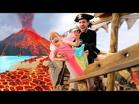 PiRATE iSLAND is under LAVA!!  Beach Prison Escape from Pirates!!  fairy Adley & Mom save the day 🧚