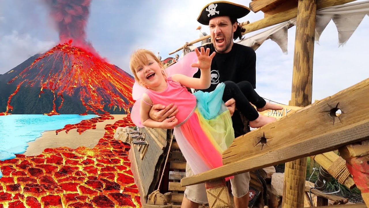 Download PiRATE iSLAND is under LAVA!!  Beach Prison Escape from Pirates!!  fairy Adley & Mom save the day 🧚