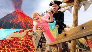 PiRATE iSLAND is under LAVA!!  Beach Prison Escape from Pirates!!  fairy Adley & Mom save the day