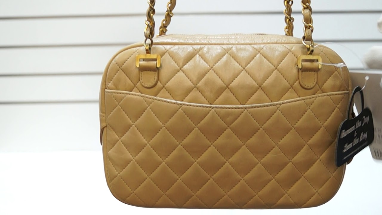 3503f0ab6b6039 CHANEL Beige Lambskin Leather Camera Shoulder Bag E5235 - YouTube