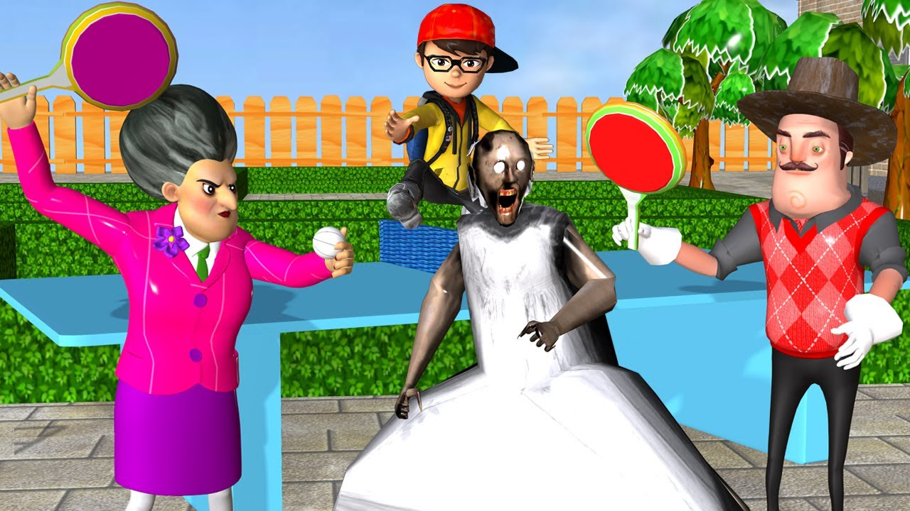 Scary Teacher 3D Nick Troll Miss T and Hello Neighbor and Granny with Ping pong - Fun Game Animation