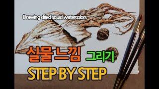 [정물수채화] 오징어와…