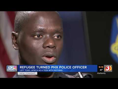 VIDEO: Refugee turned Phoenix police officer patrols neighborhoods to say thank you